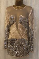 ASOS Heavy Embellished Mesh Long Sleeve Occasion Playsuit Party Dance 10 38