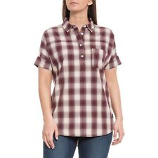 THE NORTH FACE Fig Red Buffalo Plaid Short Sleeve TANAMI Shirt ~ Women's L ~ NWT