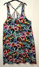 BLACK RED BLUE FLORAL LADIES CASUAL STRETCH TUNIC DRESS SIZE 14 GEORGE