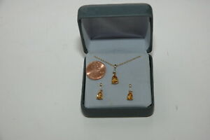 Kay Jeweler's Citrine 10 K  Necklace And Earring Set NEW