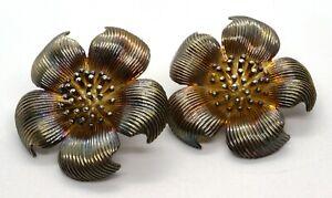 Vintage Tiffany & Co 925 Sterling Silver Dogwood Flower Clip On Earrings (T16)