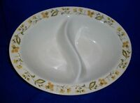 Amcrest Springfield Divided Dish Mid Century Avocado Green Gold Floral Japan