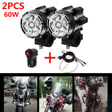 2PCS 60W LED 4000LM Motorcycle Headlight Fog Spot Lampt + Wire Harness & Switch