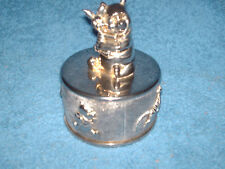 a metal wind up musical box  for children with animals {pos stainless steel }