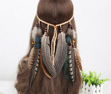 Indian Hippie Feather Feather Headbands Weave Hair Rope Headdress Accessories