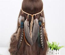 Indian Feather Headband Handmade Weave Feathers Hair Rope Headpiece Hairband