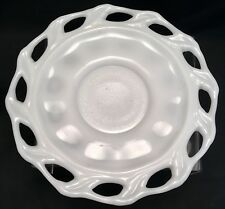 Antique Imperial White Milk Glass Open Edge Plate Oe Dish Signed On Bottom Ig