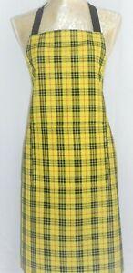 APRON, SCOTTISH TARTAN YELLOW & BLACK. FRONT POCKET.'Made in Scotland' GIFT IDEA
