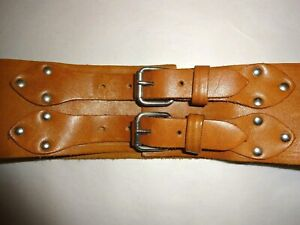 Sz W41-44\u201d Vtg Tan Silver Creek Tooled Leather Belt with Buckle