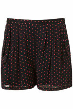 Topshop Navy Pink Spot Double Pocket Shorts Hotpants UK 10 EURO 38 US 6 BNWT