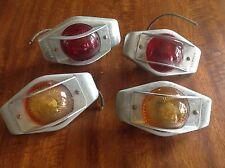 RARE VinTagE NOS CATS-EYE Amber Red GLASS travel trailer CAMPER Marker LIGHTS