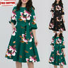 New Women Elegant Short Half Sleeve Pocket Sashes Casual Vintage A-Line Dress US