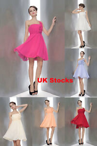 UK Stock Short Bridesmaid Cocktail Dress Party Gown Size 8 10 16 Clearance