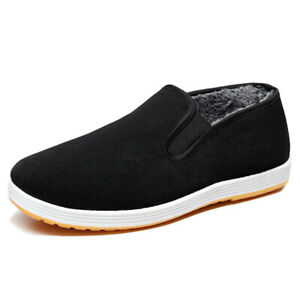Winter Warm Casual Loafer Old Beijing Cloth Shoes Men Fleece Lined Flats Oxfords