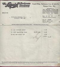 Liquid Carbonic Co., Kansas City, Billhead to Illinois Brewint, Socorro, NM 1917