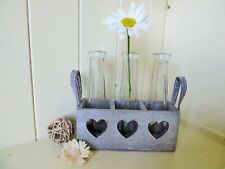 Shabby n Chic Rustic Wooden Tray and 3 Glass Vases/ Bottles.Home/Garden.Gift