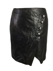 Vintage Spazio Concept Milano Black Real Soft Leather Wrap Mini Skirt UK 12