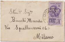 ITALIA RSI 1945 1L FRATELLI BANDIERA ISOLATO SU BIGLIETTO DA VISITA DA OMEGNA NO