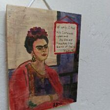 Frida kalho Original Folk Art Wood Retablo SIGNED New Mexico Mexican icon women