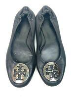 Tory Burch Women's Black Leather Ballet Flat Shoe Size 7.5