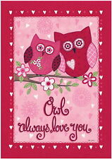 New Evergreetings Card & 12.5x18 Garden Flag Valentine'S Set Owl Always Love You
