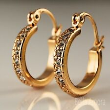 18ct Gold Filled Clear Crystals CZ Half Band Huggie Hoop Earrings 15mm UK -249