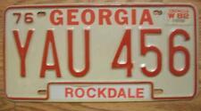 SINGLE GEORGIA LICENSE PLATE - 1976/82 - YAU 456 - ROCKDALE COUNTY