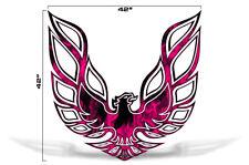 """42"""" X 42"""" Firebird Hood Graphic Decal Sticker For Pontiac Trans Am PINK FLAMES"""