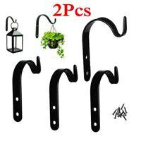 2x GARDEN HANGING WALL BRACKETS HOME Outdoor Basket Plant Pot Hanger Hook Decor