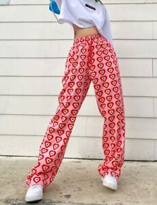 Pink Red  Retro Vtg Hearts Wide Leg Casual Pocket Summer Jogger Trousers 10