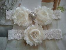 Wedding Garter, Ivory Flower Garter Set, Ivory Lace,Keepsake & Toss Garter