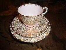 Pretty Royal Stafford Bone China Trio Pink Gold Floral Design