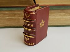 More details for vintage-superb hand made red leather masonic match box holder-book style-c1970's