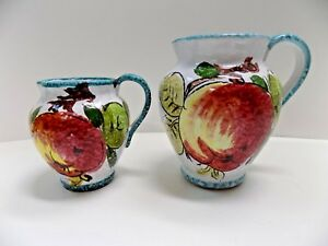 PAIR (2) HAND PAINTED MAJOLICA POTTERY PITCHERS ITALY CERAMIC Apples & Lemons