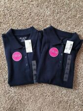 Navy Blue Polo Girl's School Uniform Shirts Size 10/12 Includes (2) Shirts Nwt