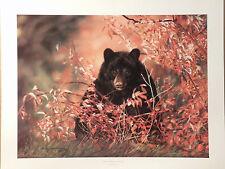 """Lesley Harrison Black Bear Print""""BERRIES, BERRIES, BERRIES"""" Signed Open Edition"""