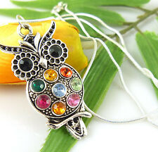 Lady Fashion Charm Jewelry Colorful Owl Crystal Necklace Pendant Wholesale