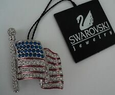 Signed Swan Swarovski Flag Brooch Pin