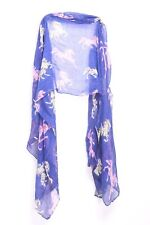 Royal Blue Barbie Pink Green White Horses Print Sheer Multi Occasion Scarf S159