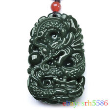 Natural green Hetian Jade Dragon Jewelry Amulet men women's Pendant Necklace