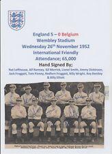 ENGLAND V BELGIUM 1952 RARE ORIG FULLY HAND SIGNED TEAM GROUP 11 X SIGNATURES