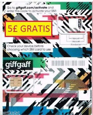 Tarjeta SIM prepago Giffgaff UK £5 saldo gratis Envío iphone x note 8 s10 op7