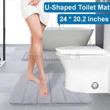 U-Shaped Toilet Mat Non-Slip Backing Rug Mats Floor Soft Velvet Absorben