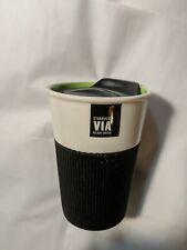 Starbucks 2011 8 oz Lime Via Ready Brew Ceramic Travel Cup Tumbler Mug Rubber