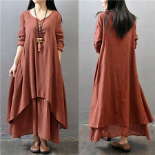 Vintage Abaya Jilbab Islamic Muslim Cocktail Women Long Sleeve Loose Maxi Dress
