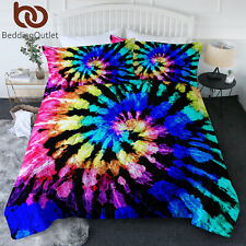 3 Pieces Soft Tie Dye Boho Bedding Comforter Sets Blue Queen King Twin Size New