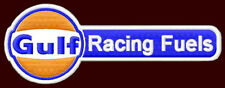 """GULF RACING FUELS EMBROIDERED PATCH ~5"""" x 1-3/4"""" GASOLINE OIL LE MANS 24 HOURS"""