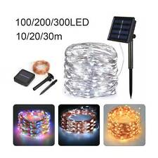 100/200/300 LED Copper Wire Solar String Lights Fairy Outdoor Waterproof Garden