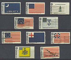 Scott #1345-54 Used Set of 10, Historic Flag Series