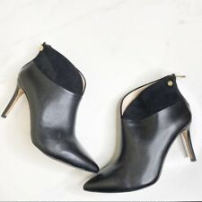 Louise Et Cie Black Leather Stiletto Ankle Boots Booties Size 7.5
